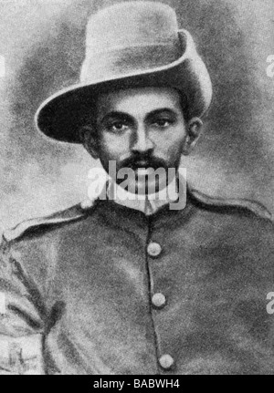 Gandhi, Mohandas Karamchand called Mahatma, 2.10.1869 - 30.1.1948, Indian politician, portrait, with the Indian Ambulance Corps in South Africa 1899 - 1901, ,