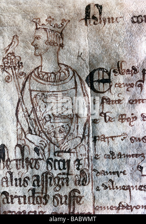 Edward I ('Longshanks'), 17.6.1239 - 7.7.1307, King of England since 20.11.1272, half length, pen drawing on parchment, - Stock Photo