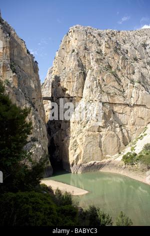 El Desfiladero de los Gaitanes gorge or canyon carved by the Rio Guadalhorce river, El Chorro, Andalucia, Spain, - Stock Photo