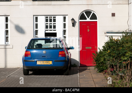 Car parked in the drive, London England UK - Stock Photo