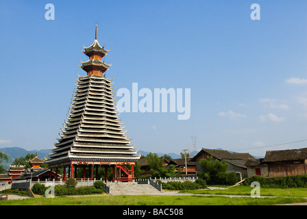 China, Guizhou Province, Rongjiang, Dong Drum Tower - Stock Photo