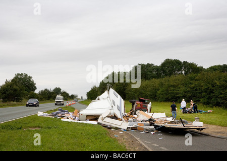 Caravan accident on the A1 trunk road Cambridgshire England UK - Stock Photo