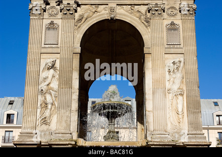 France, Paris, Fontaine des Innocents in Les Halles District - Stock Photo
