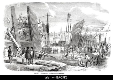 new victoria dock works plaistow marshes 1854 labour graft work metal work steel iron girder frame civil engineering - Stock Photo