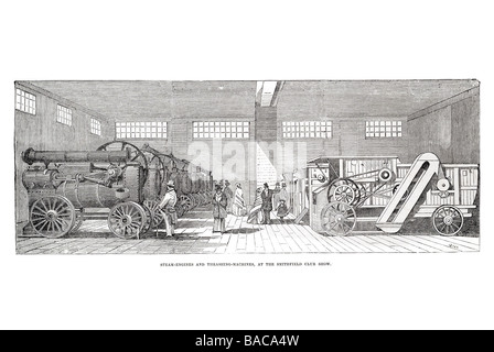 steam engines and thrashing machines at the smithfield club show 1854 - Stock Photo