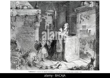 cinderella george cruikshank r a 1854 neglect stable door pumpkin coach rate mice whip fairy stove costume dress - Stock Photo