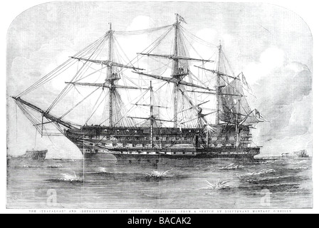 trafalgar and retribution at the siege of sebastopol sketch from lieutentant montagu o'reilly 1854 - Stock Photo