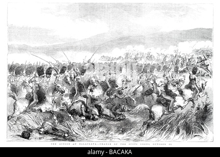 action at balaclava charge of the scots greys octobers 25 Charge of the Light Brigade disastrous British cavalry - Stock Photo