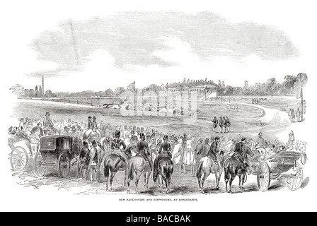 new race course at hippodrome at longchamps 1854 - Stock Photo