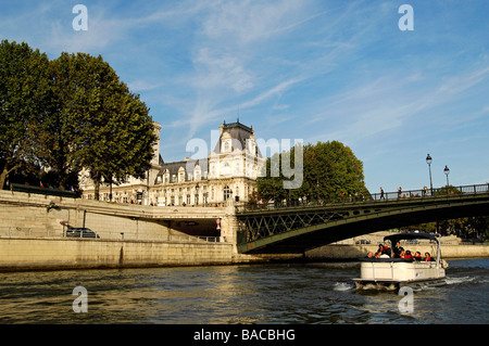 France, Paris, banks of the Seine River classified as World Heritage by UNESCO, Town Hall with Pont d'Arcole - Stock Photo