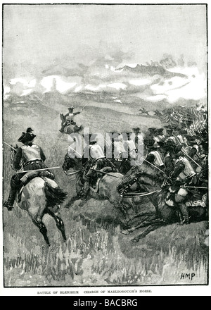 battle of blenheim charge of marlborough's horse Battle of Höchstädt 13 August 1704 major War Spanish offensive - Stock Photo