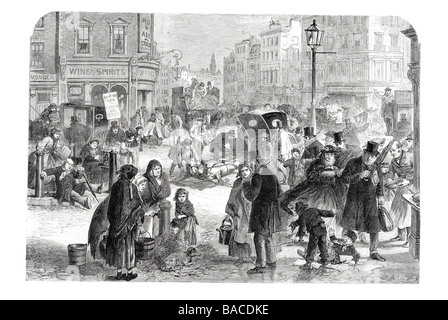 a hard frost in the streets of london 1865 ice freeze winter snow christmas cold chill sleet - Stock Photo