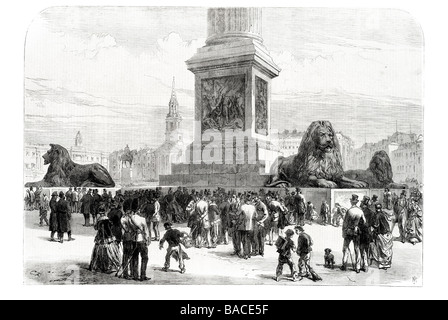the lions at the base of nelson column trafalgar square 1867 Admiral Horatio William Railton - Stock Photo