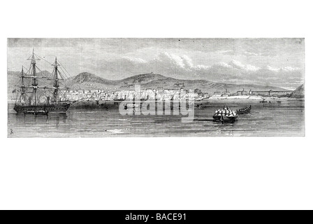 the earthquake at mitylene in the greek archipelago h m s ocean landing provisions for the relief of the sufferers - Stock Photo