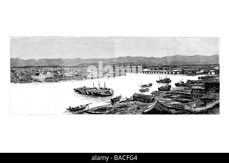 The War between France and China Views at Foochow and Formosa - Stock Photo