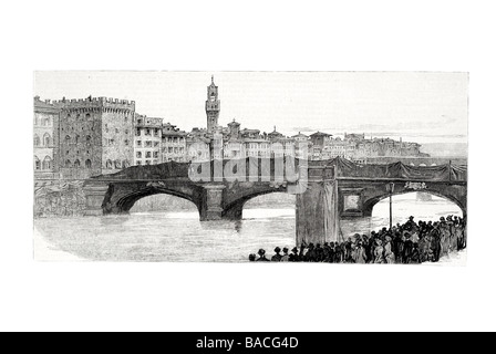 Blodin crossing the Arno on the Tight Rope at Florence for the benifit of the sufferers from colera - Stock Photo
