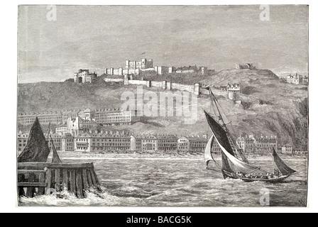dover castle from the sea Kent gun platform heavy artillery medieval - Stock Photo