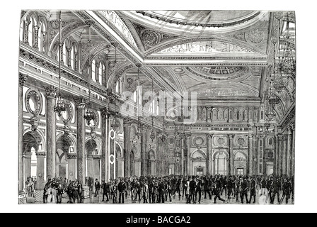 interior royal exchange manchester Theatre Great Hall Victorian cotton textiles - Stock Photo