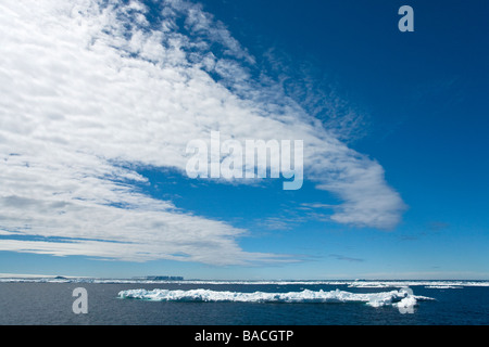 Sea pack ice and tabular icebergs near Paulet Island Antarctic Peninsula Antarctica - Stock Photo