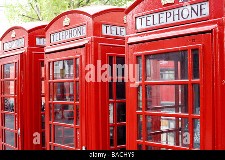 United Kingdom, London, the red telephone box designed by the architect Sir Giles Gilbert Scott in the twenties - Stock Photo