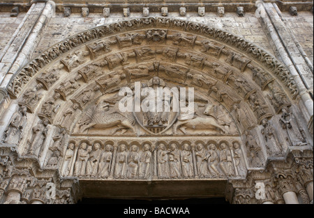 The Second Coming of Jesus Christ sculpture on Royal Portal Chartres Eure et Loir France - Stock Photo