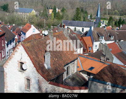 The Church of Saint Josse Au Val and rooftops as seen from the ramparts of Montreuil Sur Mer - Stock Photo