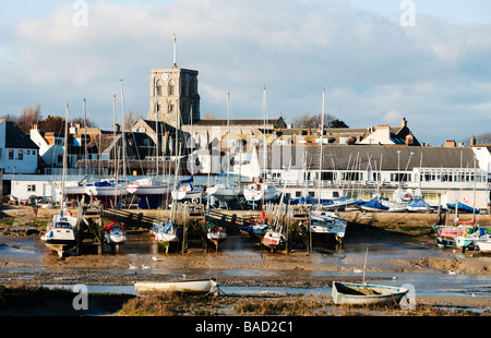 View of Shoreham harbour, Shoreham By Sea, Sussex, featuring the Norman church of St Mary de Haura - Stock Photo