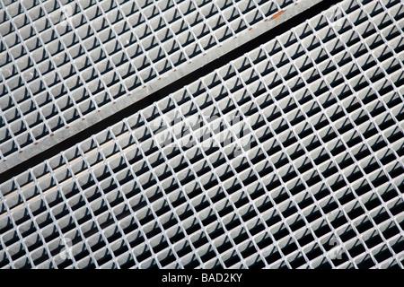 Metal floor grating - Stock Photo