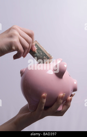 Woman inserting one dollar bill in a pink piggy bank - Stock Photo