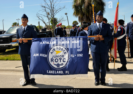 Air Force Junior ROTC Members with banner at Strawberry Festival Parade Plant City Florida - Stock Photo