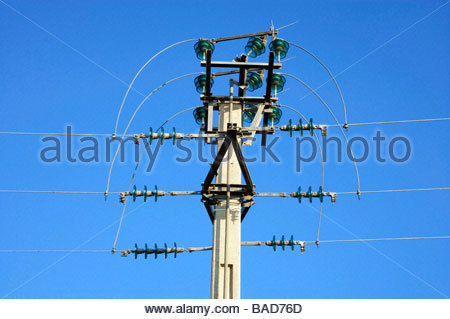 electricity wires with pole and bridge switch - Stock Photo