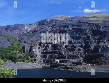Electric Mountain Dinorwig Power Station and Llyn Peris with disused slate workings Llanberis Gwynedd North Wales - Stock Photo