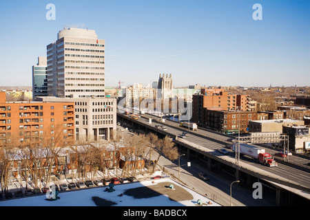 Canada, Quebec Province, Montreal, Highway 40 in Villeray Saint Michel District, Saint Alphonse d'Youville Church - Stock Photo