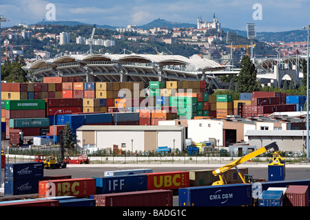 France, Rhone, Lyon, Edouard Herriot River Port Terminal Container - Stock Photo