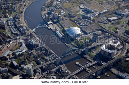 Newcastle Upon Tyne and Gateshead riverside development area, North East England with the Sage and MIllenium Bridge - Stock Photo
