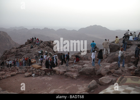Pilgrims from St Katherines having climbed the Steps of Repentance watching the sunrise on Easter Monday on Mount - Stock Photo