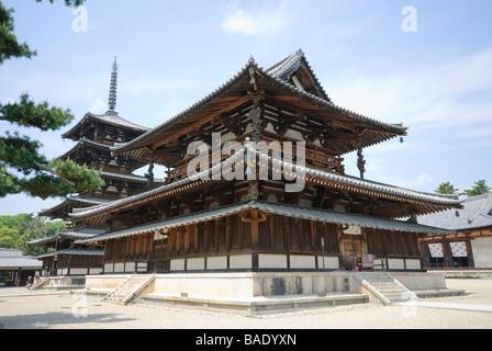 The Kondo (main hall) of the Sai-in part of Horyu-ji, with the 5 storey pagoda behind. Nara Prefecture, Japan. - Stock Photo
