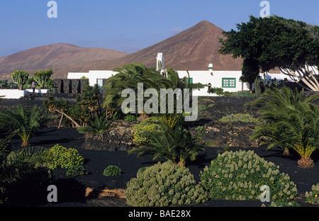 Spain, Canary Islands, Lanzarote Island, surroundings of Teguise, Taro de Tahiche, volcanic landscape seen from - Stock Photo