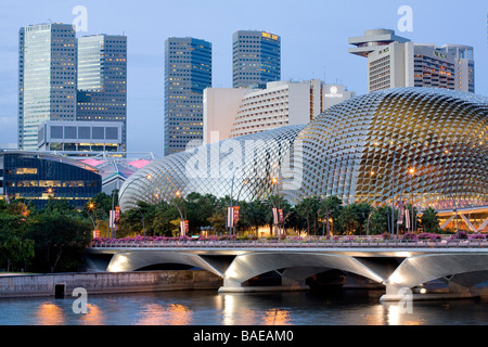 Singapore, the Esplanade and Suntec City at nightfall seen from the deck Anderson - Stock Photo