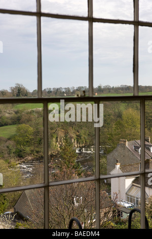 A view of the river swale from a window in the Georgian market town of Richmond in North Yorkshire England - Stock Photo