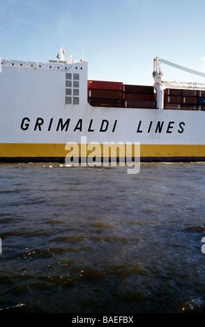 April 20, 2009 - Grimaldi's Grande Africa leaves the German port of Hamburg. - Stock Photo