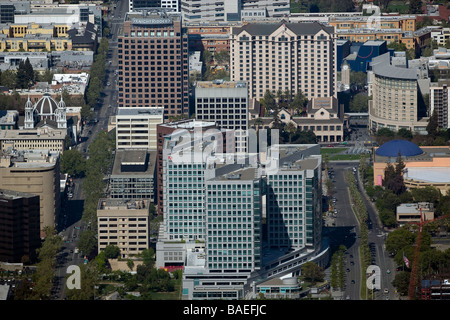 aerial view above Adobe Systems corporate headquarters Knight Ridder Silicon Valley San Jose California - Stock Photo