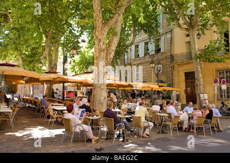 France, Bouches du Rhone, Aix en Provence, the Place de l'Archeveche - Stock Photo