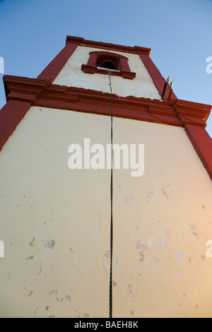 MEXICO El Triunfo Rope to bell tower of Parroquia de Nuestra Senora de Guadalupe church in town built for miners - Stock Photo