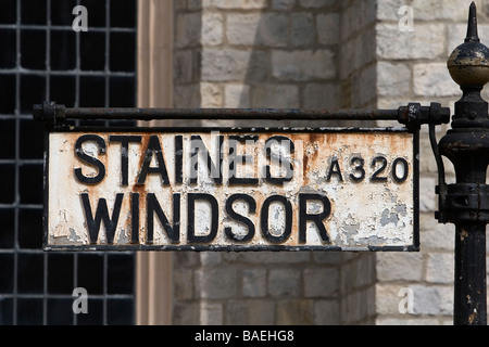 Sign Windsor Staines - Stock Photo