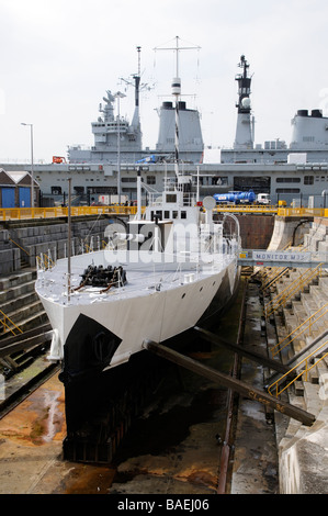 HMS Monitor M33 a First World War warship in drydock Portsmouth England UK - Stock Photo