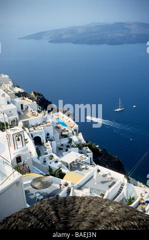 view over Thira with the Caldera in the distance at Santorini, Cyclades, Greek Islands, Greece - Stock Photo