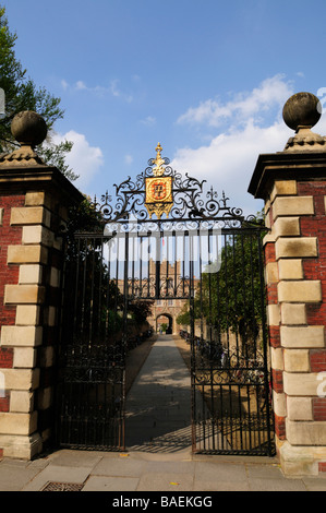 The Jesus Lane entrance to Jesus College with the path down to the Gatehouse known as 'The Chimney'  Cambridge England - Stock Photo