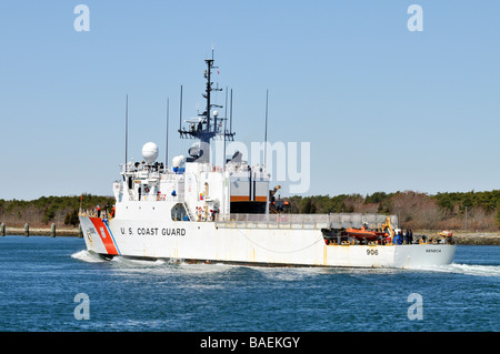 US 'Coast Guard' ship Seneca passing through 'Cape Cod Canal' - Stock Photo