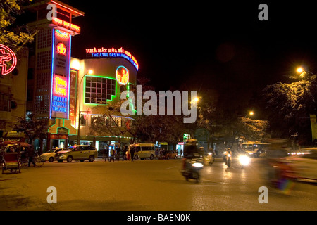 Thang Long Water Puppet Theate at night with neon signage in Hanoi Vietnam - Stock Photo